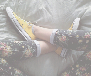converse, flowers, and fashion image