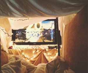 light, movie, and bed image