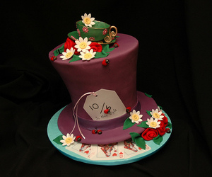 alice in wonderland, hat, and cake image