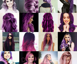 hair, demi lovato, and purple image