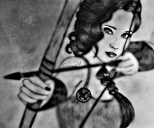 black and white, drawing, and Jennifer Lawrence image