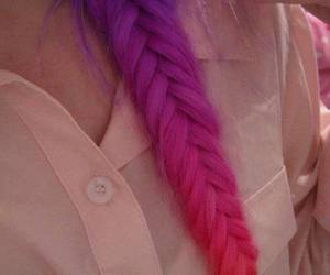 hair, fishtail braid, and mult-colored braid image