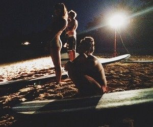 beach, night, and surf image