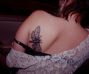 butterfly, tattoo, and thats a moth image