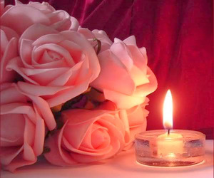 rose, candle, and flowers image