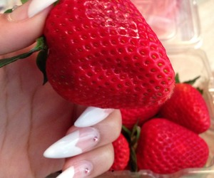 nails, strawberry, and food image