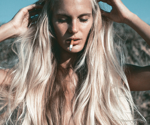 blonde, hair, and cigarette image