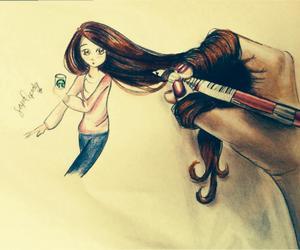 drawing, girl, and girly image