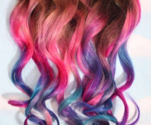 hair, pink, and curly image