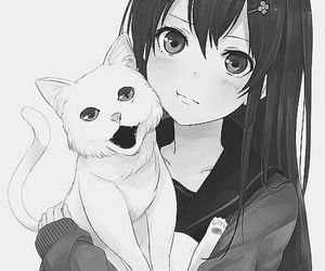 anime girl, black and white, and cat image