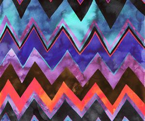 wallpaper, blue, and chevron image