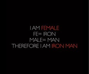 female, iron man, and quotes image
