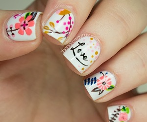 flowers, pink, and nail art image
