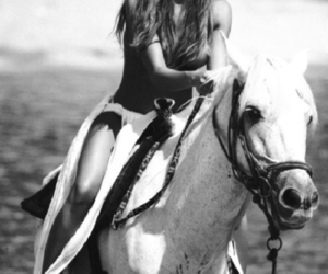 horse, black and whithe, and woman image