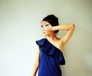 eye, girl, and blue image
