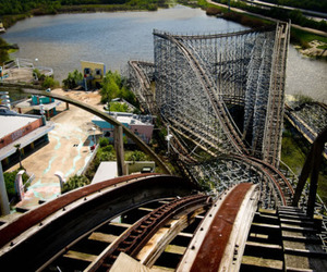 abandoned, amusement park, and Roller Coaster image