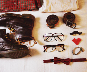 boots, glasses, and mustache image