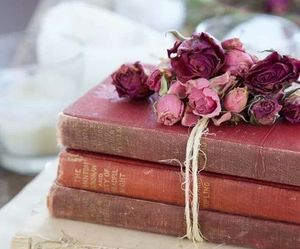 books, vintage, and roses image
