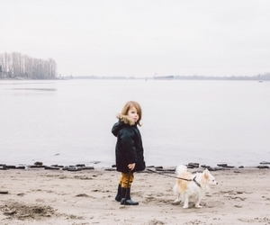 dog, girl, and little image