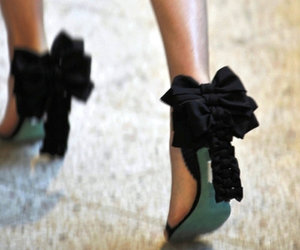 aqua, black, and bow image