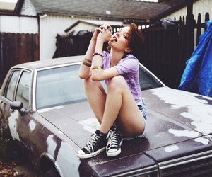 girl, car, and black and white image