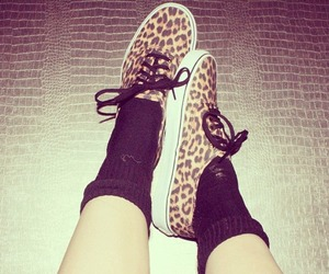 shoes, animal print, and vans image