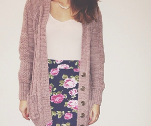 cardigan, fashion, and floral image