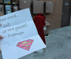 superman, text, and world image