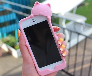 iphone, pink, and cat image