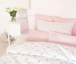 flowers, pink, and bedroom image