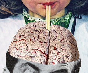 art, vintage, and brain image