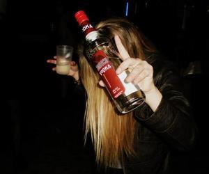 drunk, girl, and vodka image
