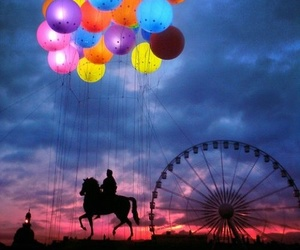 balloons, horse, and ferris wheel image