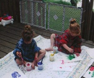 kids, sisters, and painting image