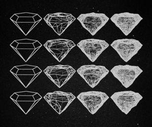 diamond, black and white, and black image