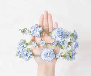 flowers, blue, and flower crown image