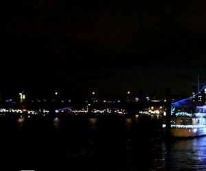 boat, lights, and london image