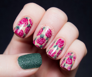 nails, rose, and flowers image