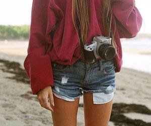 girl, camera, and beach image