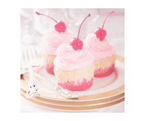 cherry, cupcake, and pink cupcake image