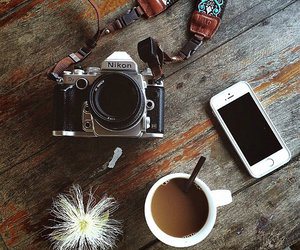camera, coffee, and old image