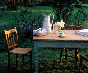 chair, garden, and table image