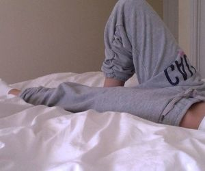 girl, bed, and pants image