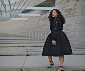 curly hair, fashion, and lbd image