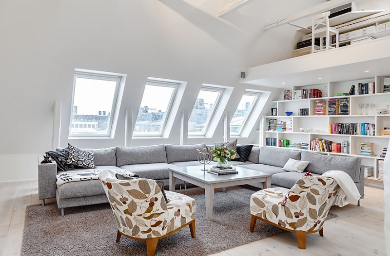 Awesome Family Room Decor At The Stockholm Attic Penthouse ...