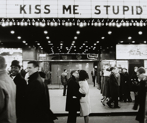 couple, kiss, and movie theater image