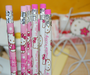 hello kitty, pencil, and pink image