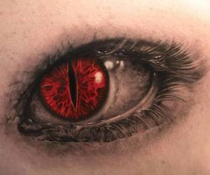 eye, dark, and red image