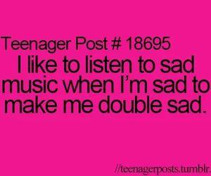 sad, music, and teenager post image