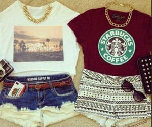 fashion, starbucks, and outfit image